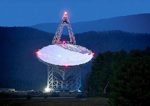 The Green Bank radio telescope in West Virginia may pull in an alien signal. (Jiuguang Wang)